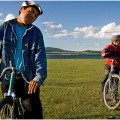 Cyclists from Hatgal village, Mongolia