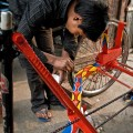 Decorating of rickshaw, Nepal
