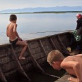Fishing on the Baikal lake, Russia